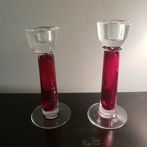 Set of 2 Red Glass Taper Candlesticks